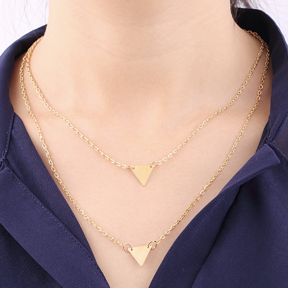Women Double Layers Triangle Charm Pendant Chain Necklace Jewelry Gift