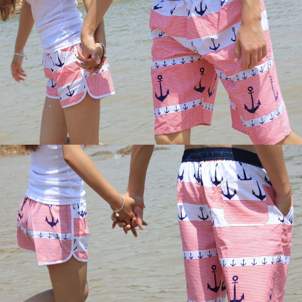 Fashion Men Women Lover Couple Summer Beach Surfing Swimming Short Pants