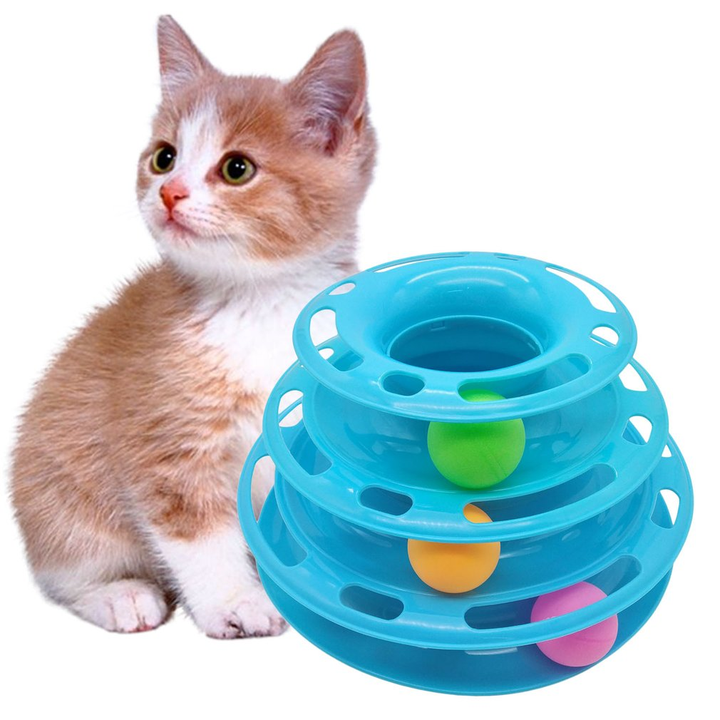3 Layers ABS Anti-Slip Pet Cat Intelligence Triple Play Disc Turntable Toy