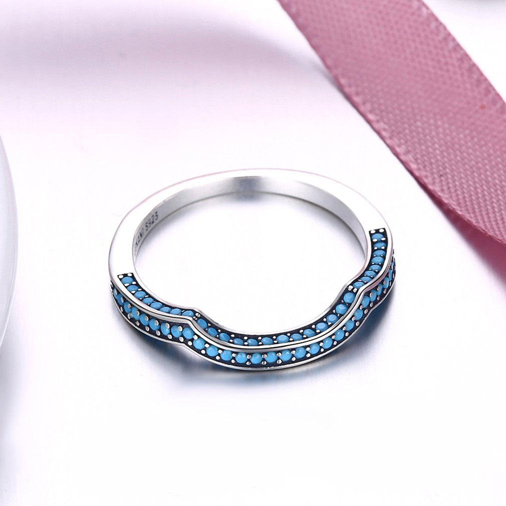 Geometric Turquoise Surround Women Rings Female Ladies 925 Sterling Silver Daily Wear Finger Rings Fine Jewelry Valentine Gift