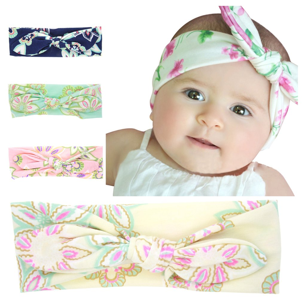 Lovely Cute Design Floral Printed Bowknot Baby Children Headband Elastic Newborn Baby Girls Headband DIY Hair Accessories