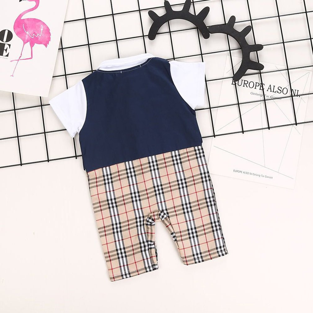 Children Boys Gentleman Style Bow Tie Jumpsuits Casual Short Sleeve Rompers