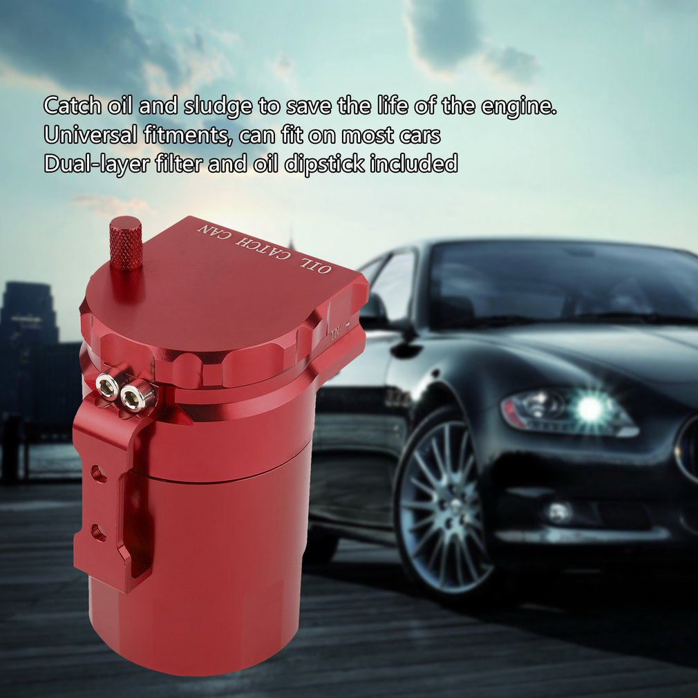 Car Universal Baffled Oil Catch Can Tank Reservoir Breather With Fittings