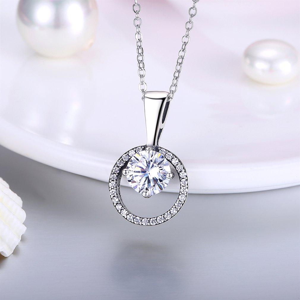 Popular Classic 925 Sterling Silver Women Geometric Round Zircon Pendant Necklace Women Wedding Engagement Jewelry Gift