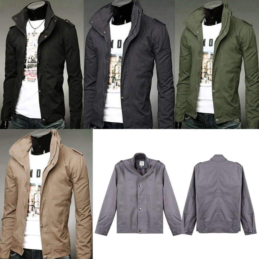 Military Style Men's Slim Fit Stand Collar Jacket Coat Button Overcoat