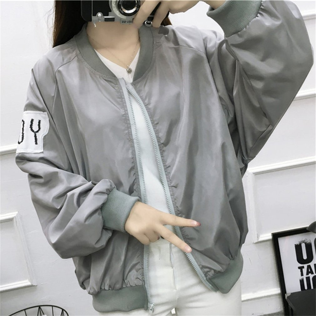 Preppy Style Overcoat Female Outwear Long Sleeve Round Neck Zipper Closure Letter Print For Women Spring Solid Color