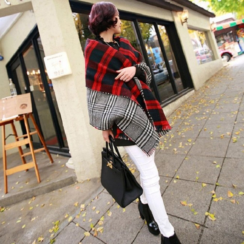 Women European Style Winter Scarves Warm Tartan Check Shawl Wrap Plaid Stole