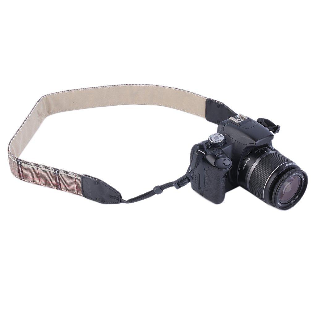 Universal Camera Shoulder Strap Neck Nonslip Vintage Check Belt For DSLR SLR