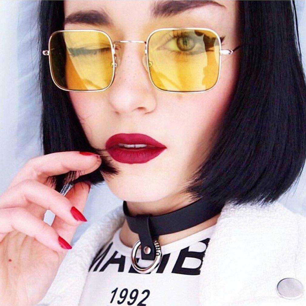Retro Square Shape Women Men Sunglasses Trendy UV400 Eyewear Sunglasses Metal Frame Resin Lens Travel Sun Glasses