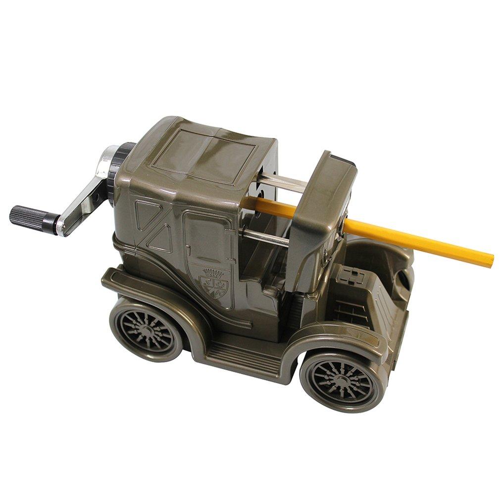 DELI 0618 Portable Size Vintage Car Shape Pencil Sharpener Manual Adjustable