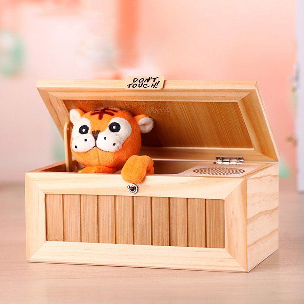 Audio Version Useless Box Wooden Electronic Useless Box Cute Tiger Funny Toy