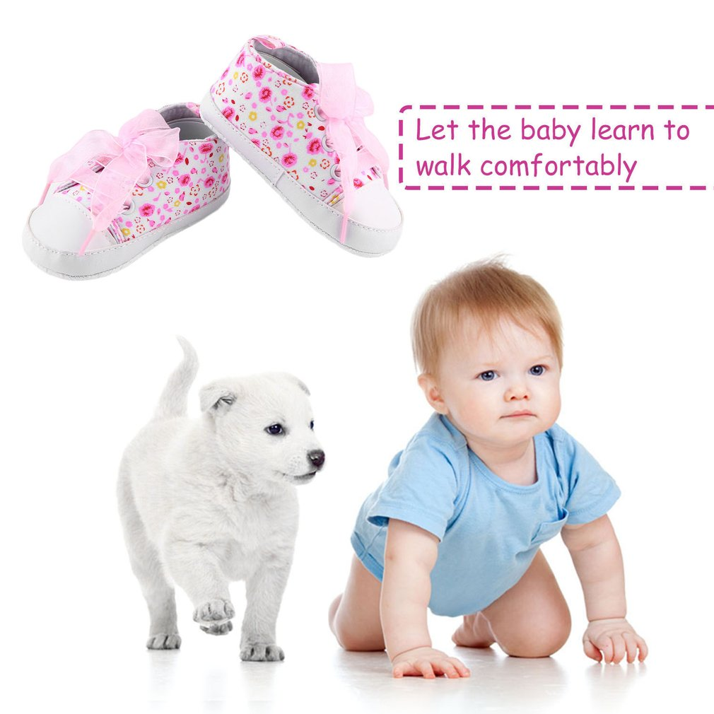 New Born Baby Toddlers Cute Design Floral Ribbon Style Anti-Slip Shoes