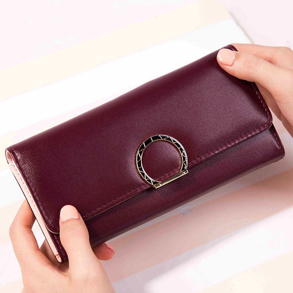 Women's Casual Round Buckle Wallet, Wine Red