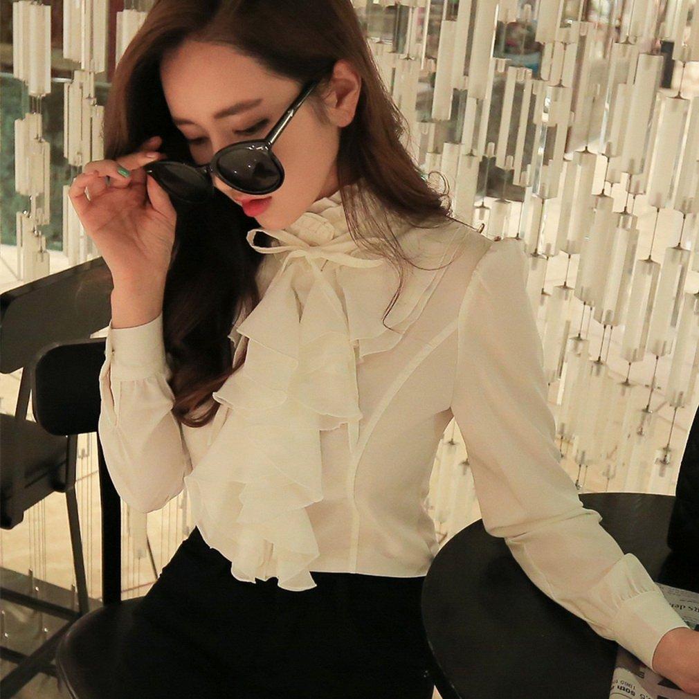 Vintage Ruffle Shirt Ladies Long Sleeve Blouse Womens Casual Chiffon Top Blouse