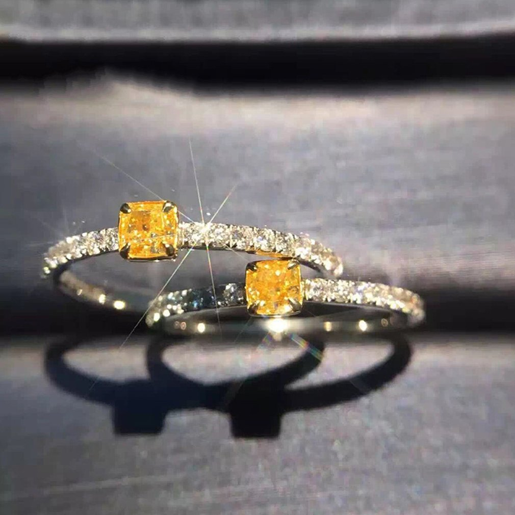 Women Special Square Simulated Yellow Zircon Promise Engagement Wedding Ring