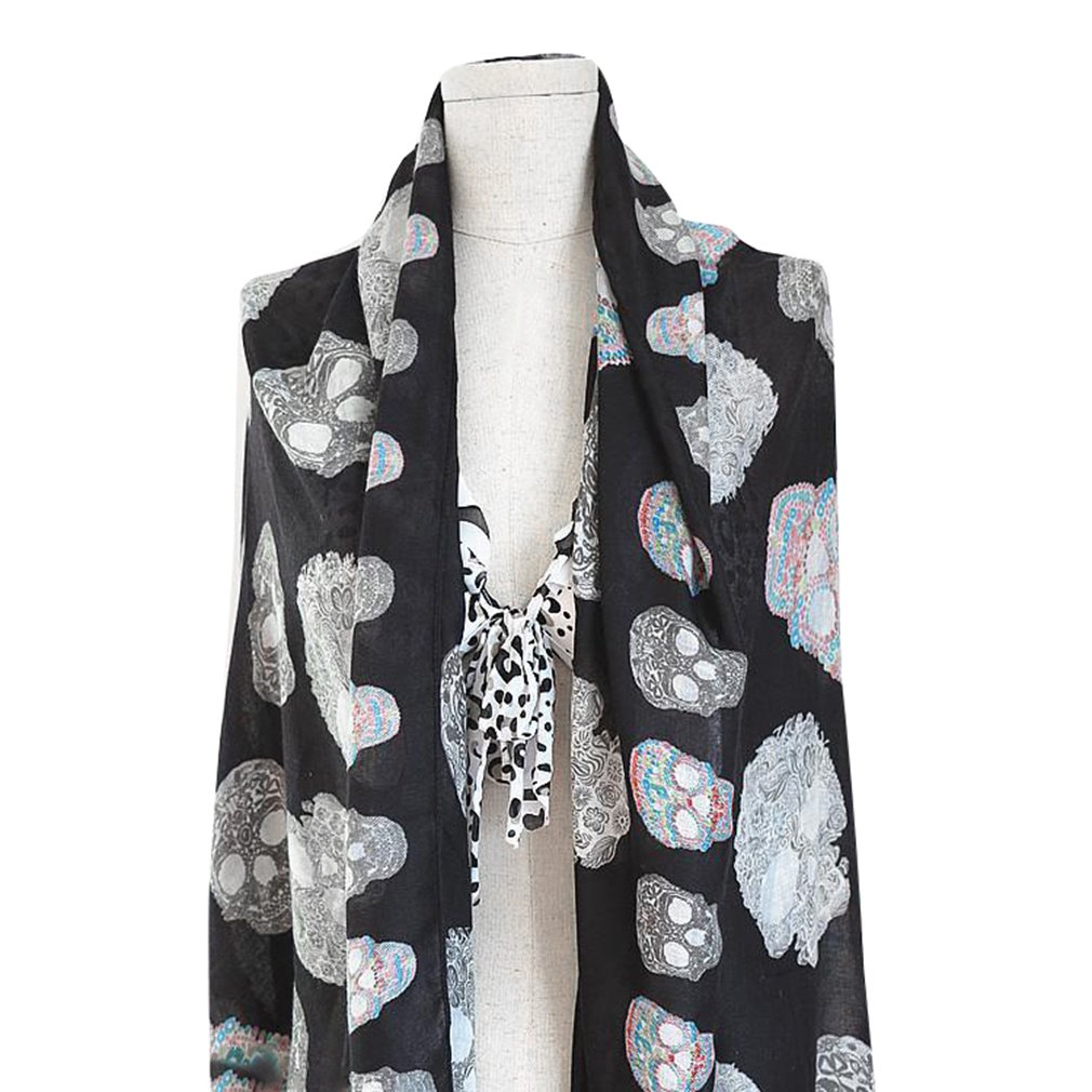 New Fashionable Women's Cotton Twill Scarves Skeleton Head Scarves