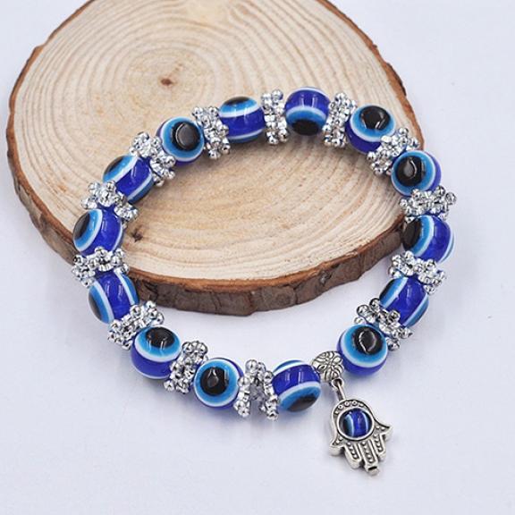 Unisex Vintage Handmade Hamsa Fatima Bangle Evil Eye Beads Elastic Bracelet