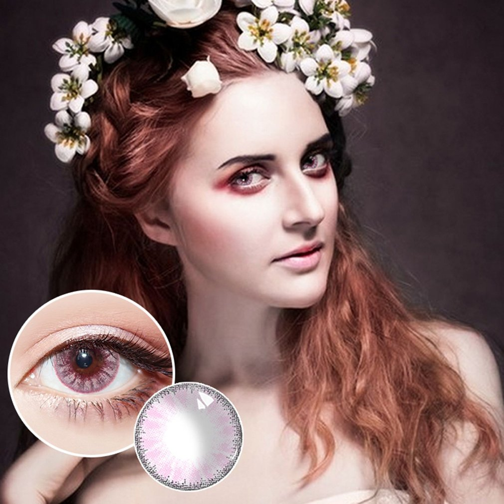 One Pair/set Charming Crystal Ball Beautiful Circle Cosmetic Contact Lenses