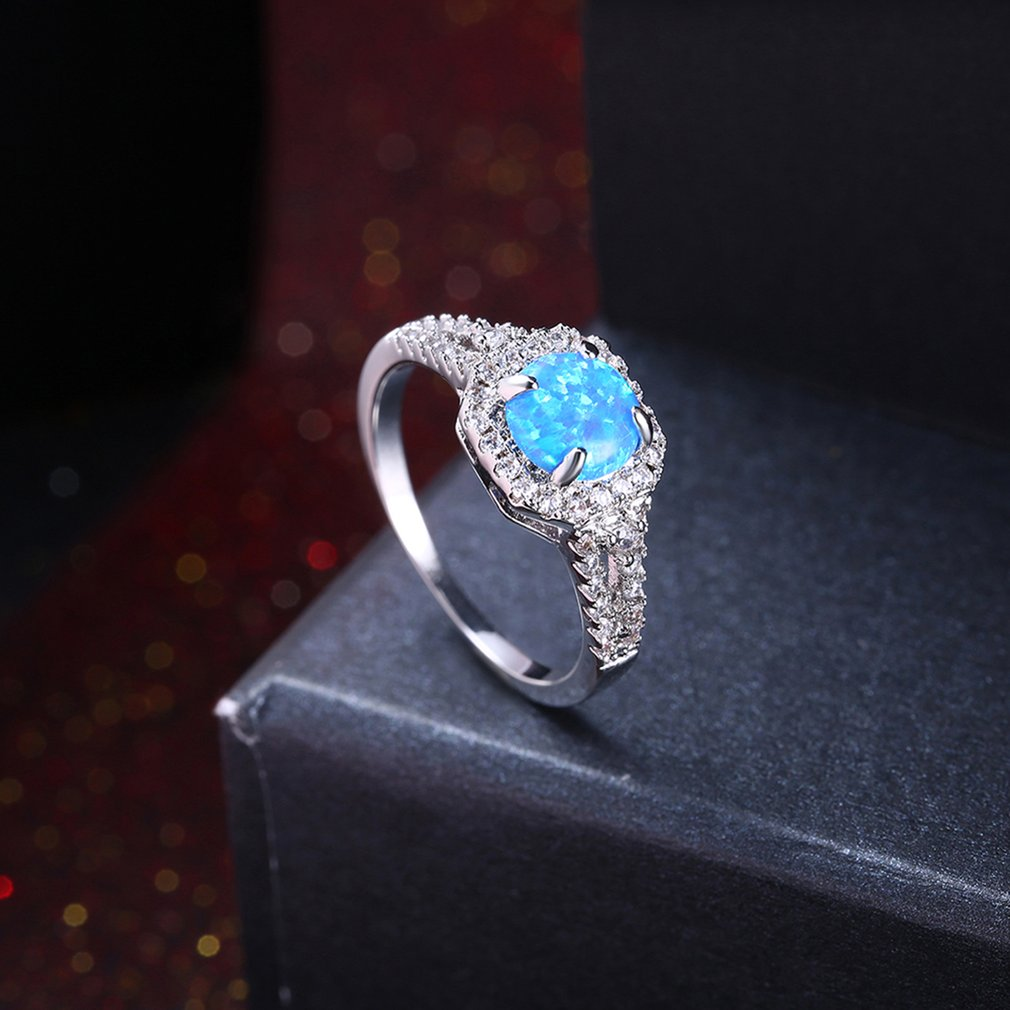 Luxury Stylish Jewelry Women Round Shape Stone Wedding Ring Jewelry Gift