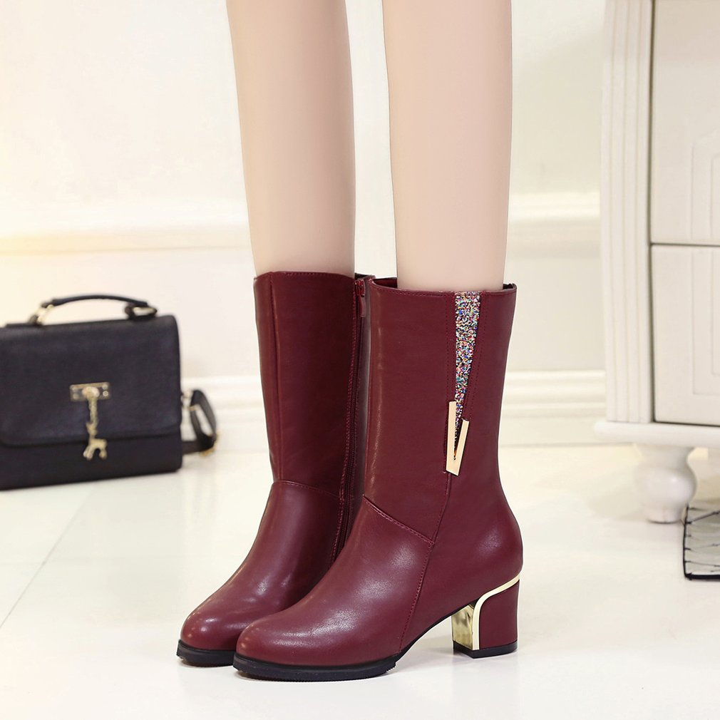 Women Boots Female Mid-heel Boots Thickened Velvet Snow Boots For Winter
