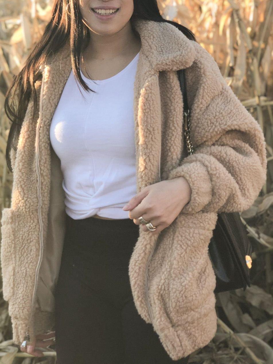 Khaki Long Sleeve Cotton-Blend Turtleneck Outerwear