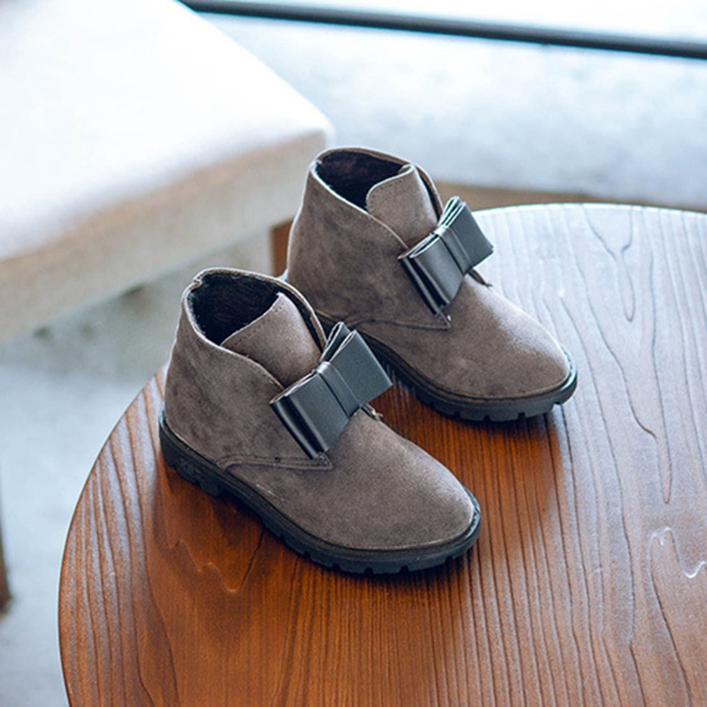 Children Ankle Boots PU Leather Slip On Boots with Bowknot Decor for Girls