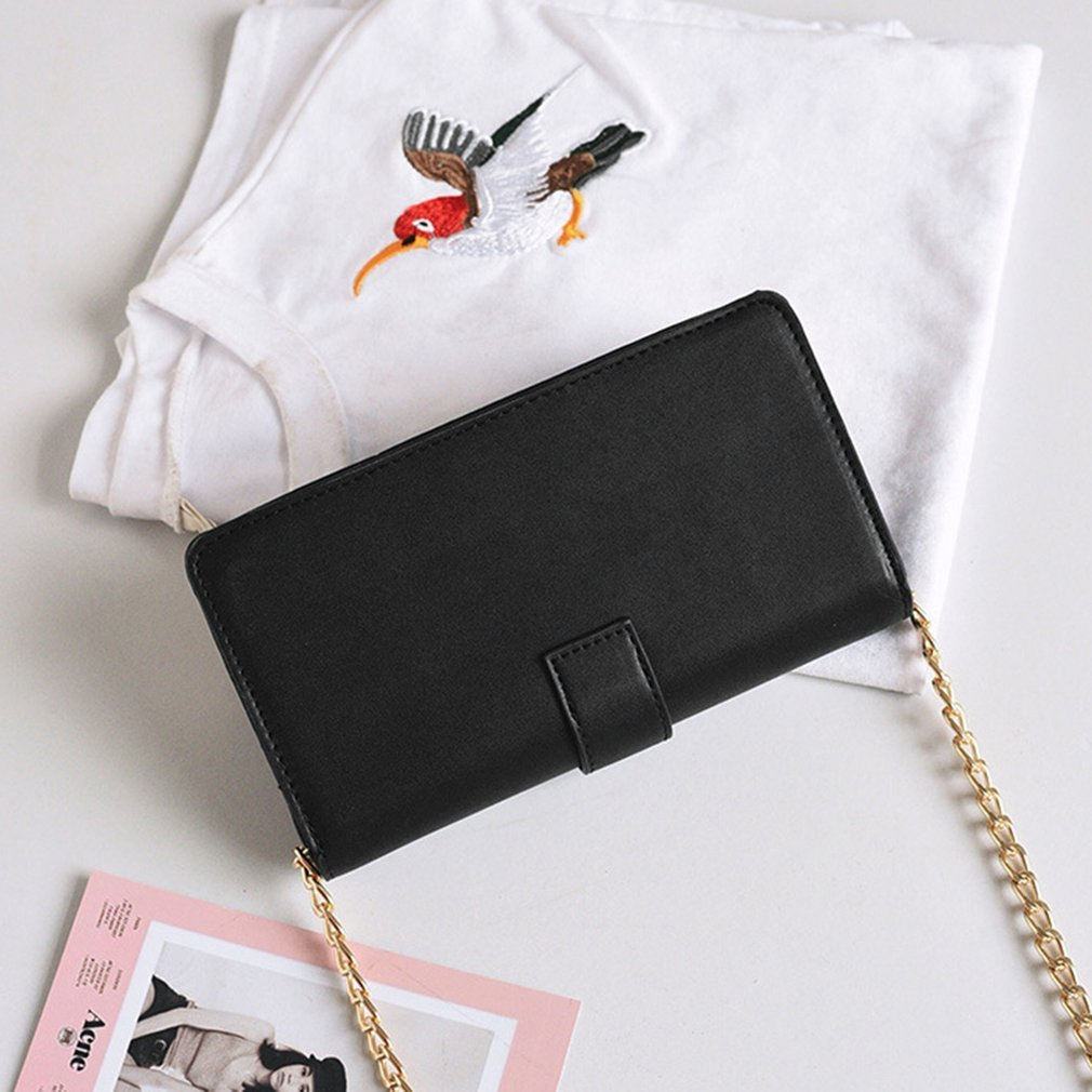 Summer Fashionable Women Soft PU Leather Single Shoulder Bag Casual Metal Chain Ladies Hit Color Crossbody Bag