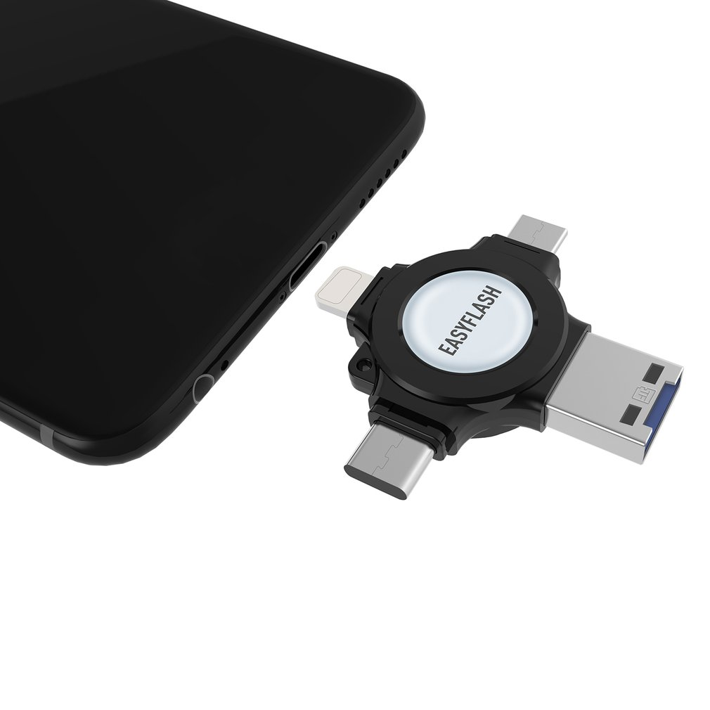 4-In-1 USB Flash Drive For iPhone Type-C Micro-USB Pen Drive for PC Android