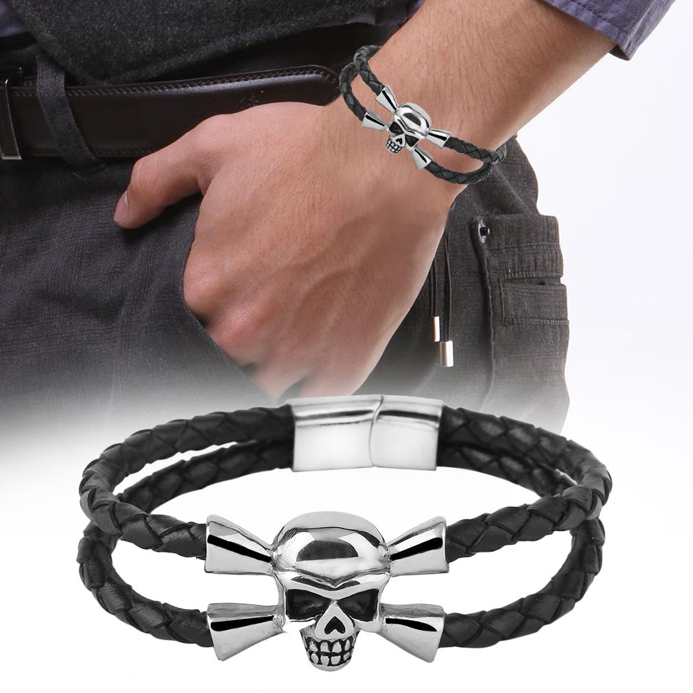 Bracelet 5mm Titanium Steel Magnetic Snap Skull Leather Bracelet Jewelry