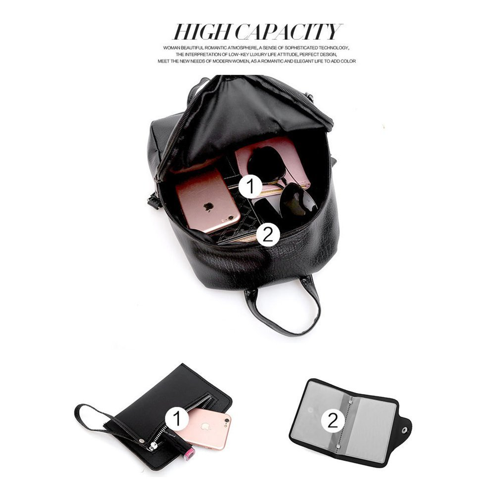 3PCS/SET Autumn Winter Fashionable Women Soft PU Leather Solid Color Backpack