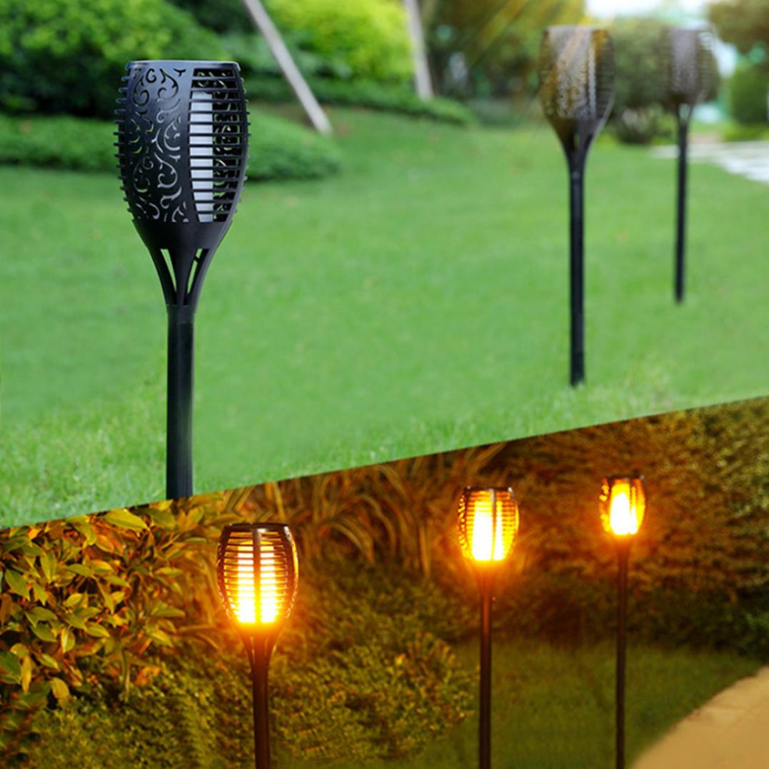 Waterproof Solar Powered Outdoor Flame Torch Lamp Garden Landscape Party Decor