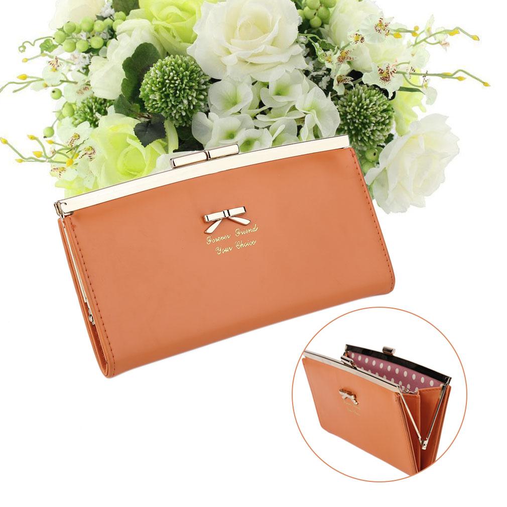 Korean Cute Bow Clip Wallet Purse Women Long Wallet Leather Wallet Female