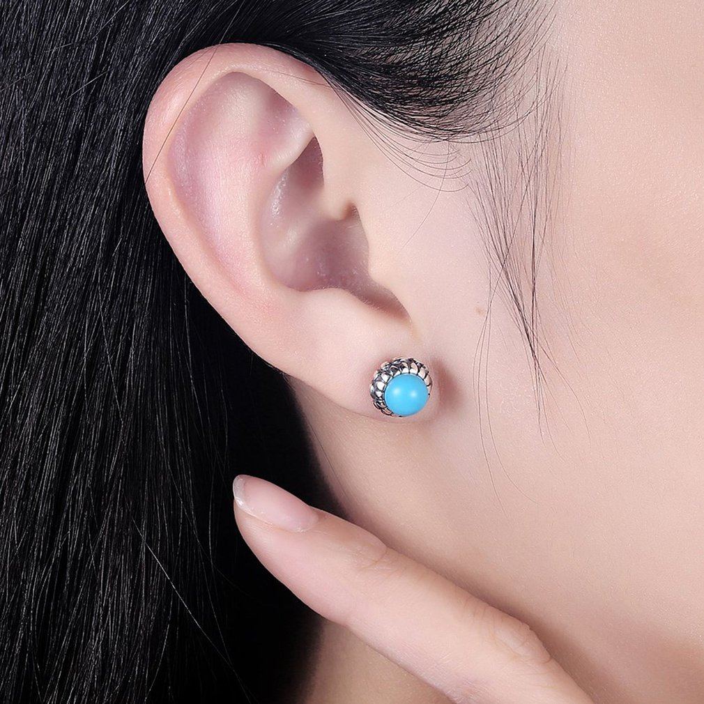 Round Flower Shape Women 925 Sterling Silver Earrings High Class Turquoise Ladies Ear Studs Earrings Fine Jewelry