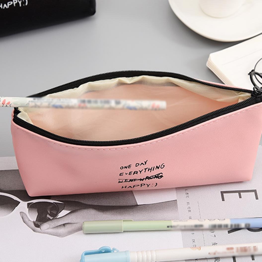 Dot Letter Pattern Large Capacity Pencil Case Pen Storage Pouch Bag Stationery