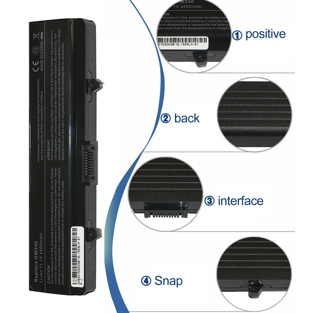 Durable Shockproof 11.1V 4400mAh Laptop Notebook Battery Suitable for Dell Inspiron 1525/1545/1546/1440/C601H/CR693/D608H