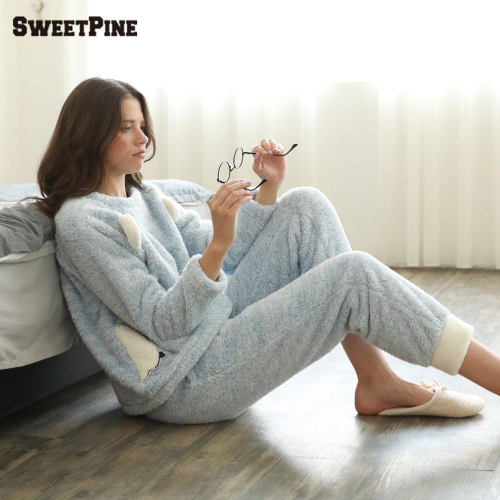 SWEETPINE Cute Bear Pajamas Adults Warm Flannel Animal Pajama Cartoon Pajamas