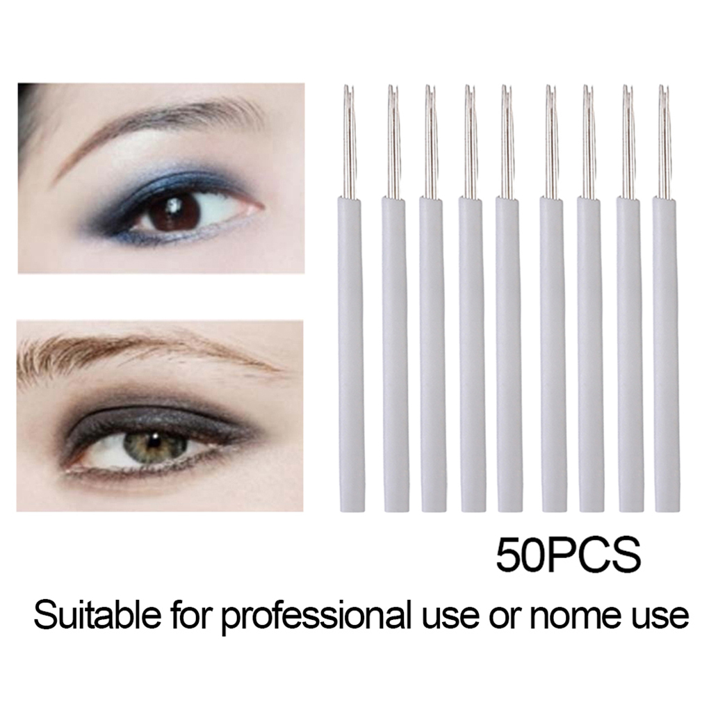50PCS 5R Permanent Makeup Eyebrow Tattoo Needles Manual Eyebrow Pen Needle
