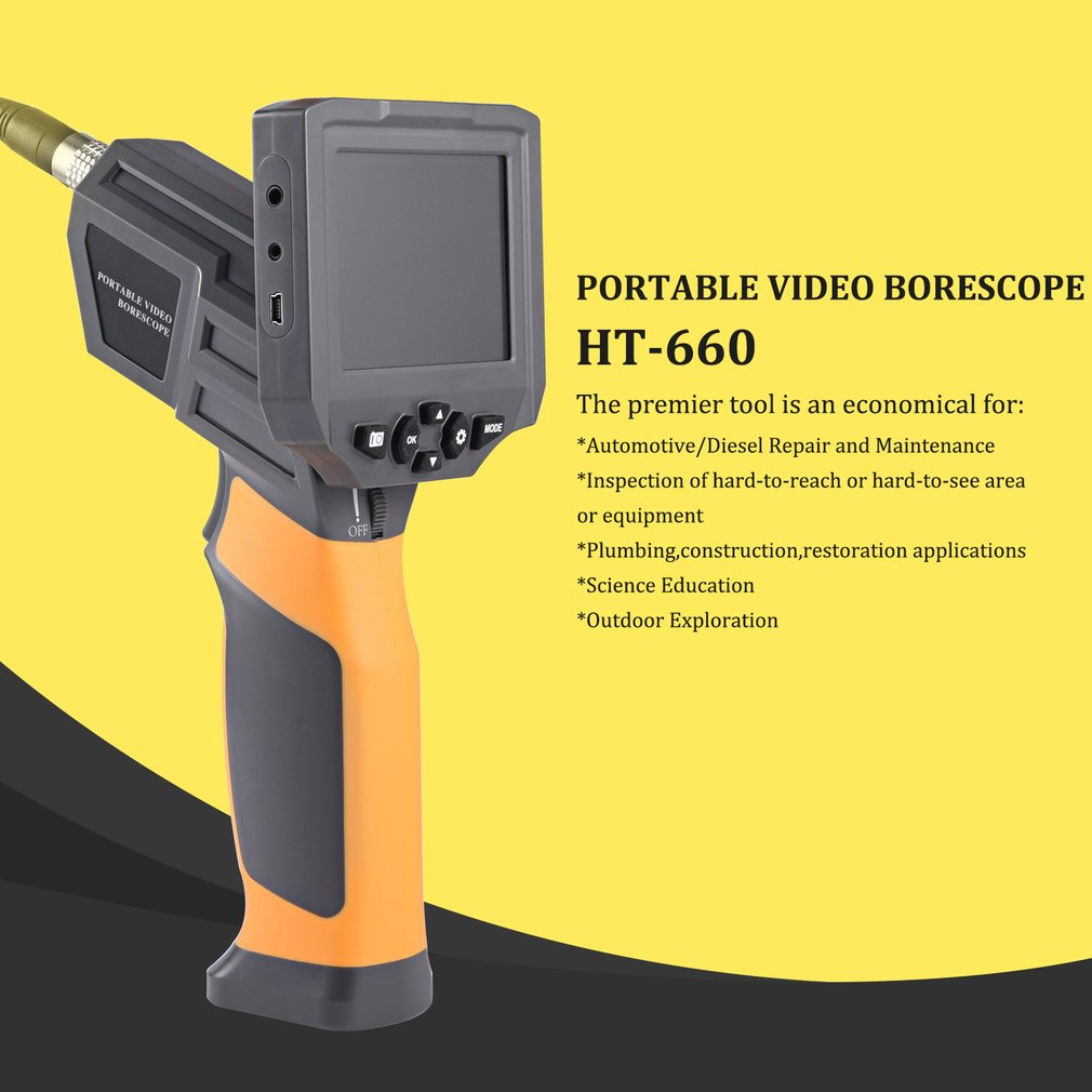 3.8 inch Color LCD 6 Adjustable High-intensity LEDs Portable Video Borescope