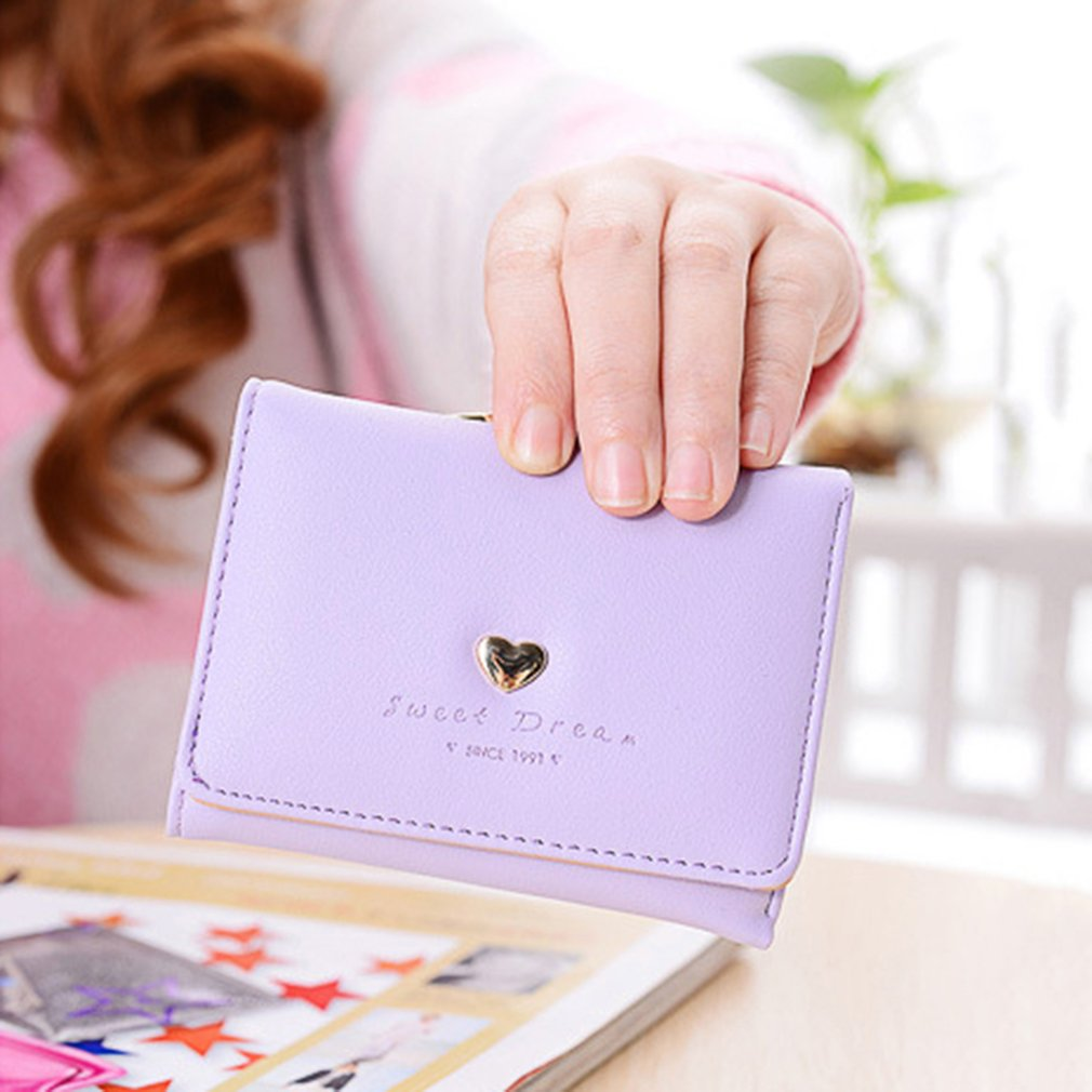 Women Short Wallet Cute Coin Purse with Love Heart & Letters