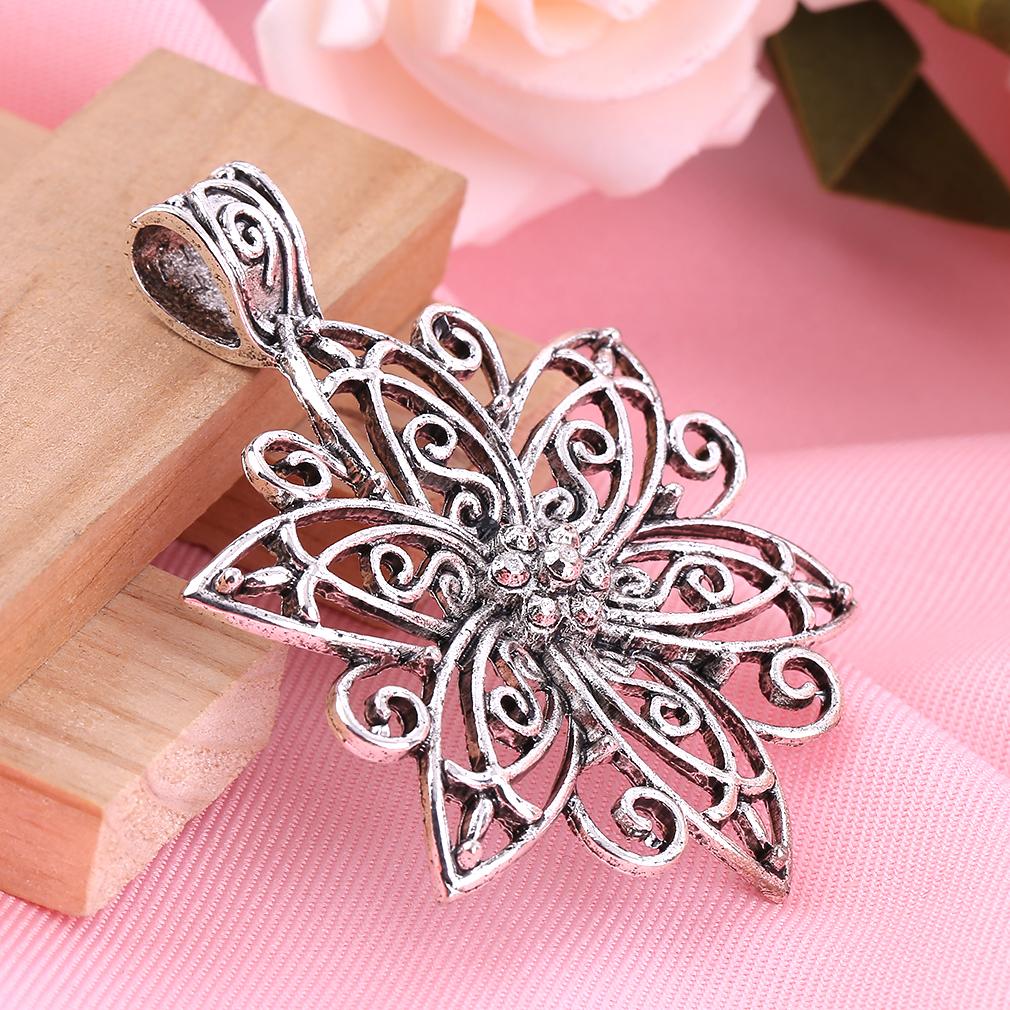 Simple Trendy Style Women Vintage Antique Silver Color Necklace Flower Pendant