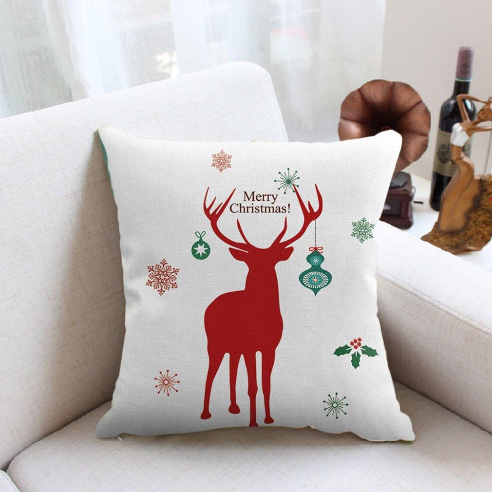 6 Pcs Christmas Linen Cotton Pillow Sofa Decorative Car Back Cushion Cover