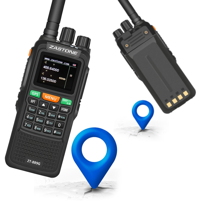 Zastone 889G GPS Walkie-talkie 10W 999CH 3000mAh UHF 400-520 / VHF136-174MHz Ham CB Radio HF Transceiver for Explore Hunting