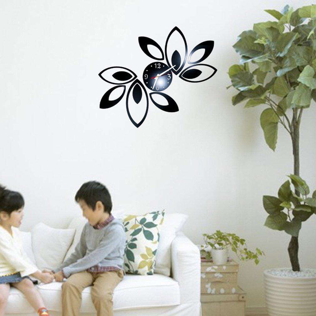Luxury Black flower Leaves Fashion wall art clock stickers home decoration