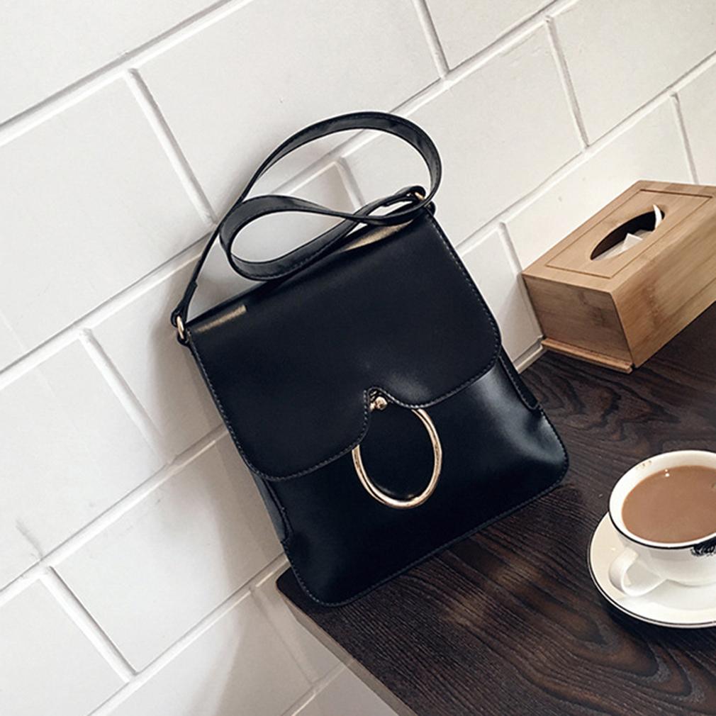Candy Solid Color Handbag PU Shoulder Bag Metal Ring Decoration Clutch Purse