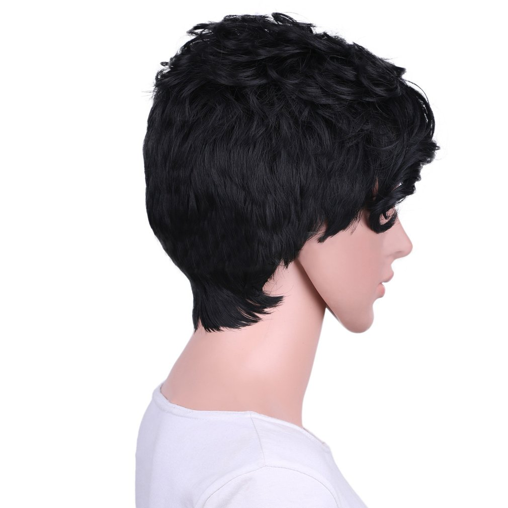 Short Curly Hair Wig Side Parting Black Hair Wig With Side-swept Fringe