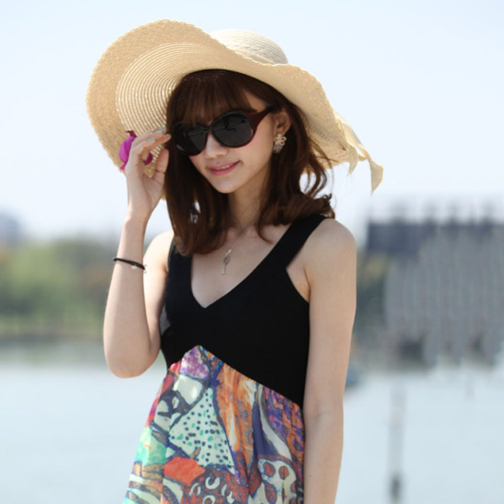 Women Summer Round Flat Top Straw Beach Hat Bowknot Design Beach Sun Hat Cap