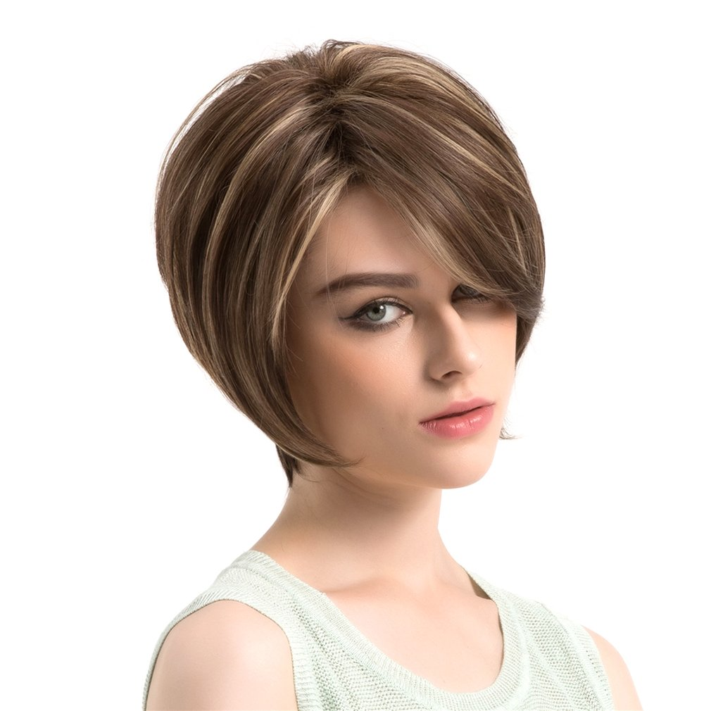 DIY Hair Styling Synthetic Wigs Synthetic Fiber Short Straight Women Wig Hair