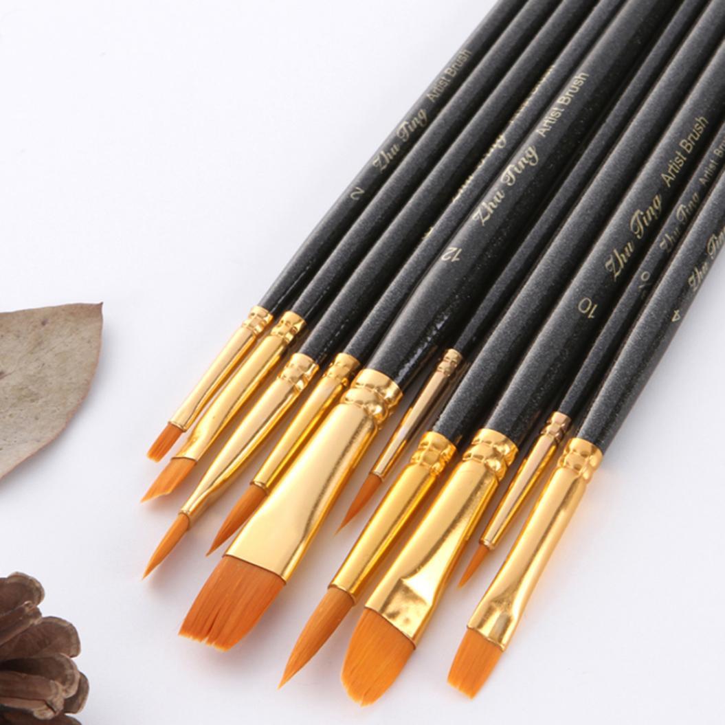 10Pcs Watercolor Water Paint Brush Calligraphy Drawing Pen School Art Supplies