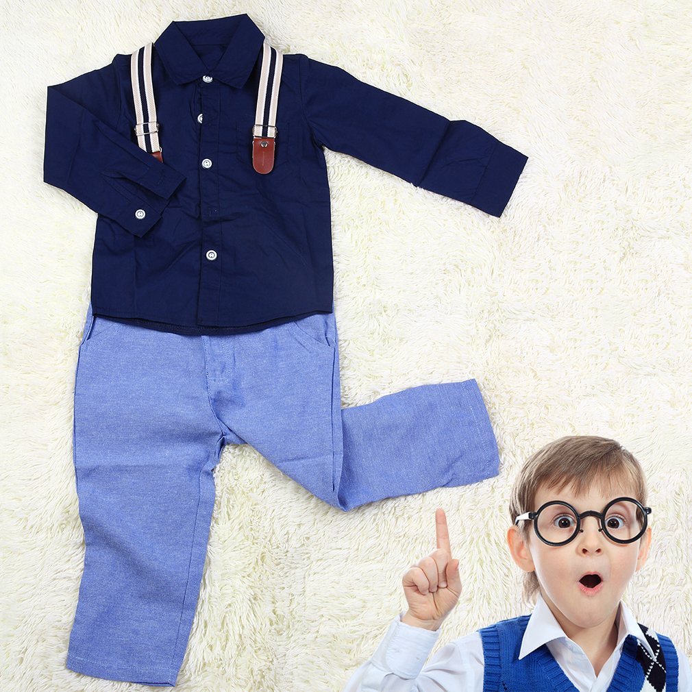 Fashionable Handsome Baby Children Boys Long Sleeve Blouse Tops + Overalls