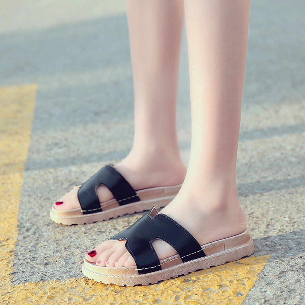 Fashion Summer Slippers PU Upper Thick Soft Sole Anti-skid Comfortable Slippers Casual Outdoor Beach Sandals Shoes For Female
